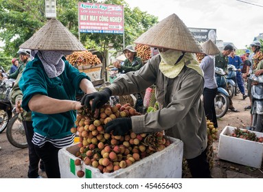 HAI DUONG, Vietnam, June 18, 2016 the group of people, countryside Thanh Ha, Hai Duong, lychee fruit business. Here, the famous lychee plantation, Vietnam