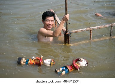 HAI DUONG, Vietnam, September 18, 2016 man, prepare water puppetry, memorial general Tran Hung Dao, relic Con Son, Kiep Bac, Hai Duong, Vietnam