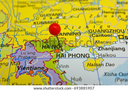Haiphong Vietnam Map.Hai Phong Marked On Map Red Stock Photo Edit Now 693885907