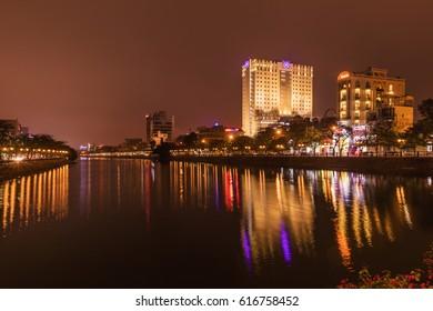 HAI PHONG, VIETNAM - March 09, 2017: Tam Bac Lake at night, Hai Phong.