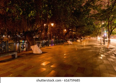HAI PHONG, VIETNAM - March 09, 2017: Tam Bac Lake at night, Hai Phong.