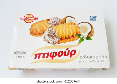 Hai, Ukraine -14 March 2017: Greek cookies with coconut isolated on white.