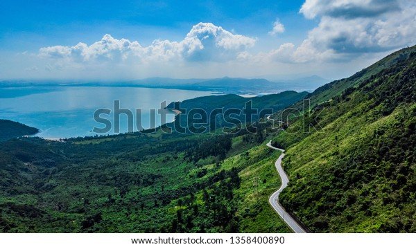 The Hai Van Pass, Da Nang, Vietnam. A beautiful road to drive by motorbike, very nice curves, turns and awesome view. Aerial view.