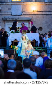 HAIFA, ISR - APR 19, 2015: A blessing ceremony in Stella Maris monastery, mark the end of the annual our lady of Mount Carmel parade, in Haifa, Israel. It commemorates the hiding of Mary statue in WWI