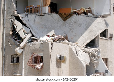 HAIFA, ISR - JULY 21:Bombed-out building that was struck by a Katyusha rocket fired from south Lebanon by Hezbollah on July 21, 2006.In the conflict 165 Israelis where killed and 500,000 displaced.