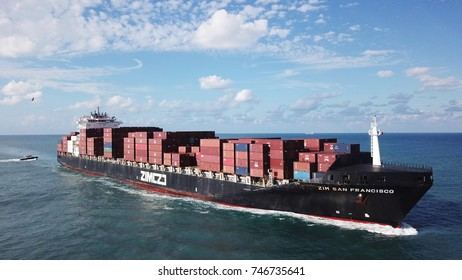 Haifa, Israel - 01 Nov, 2017: large ULCV container ship underway, sails on open water fully loaded with containers and cargo -the zim san francisco