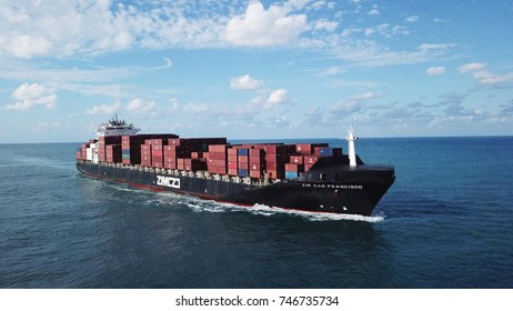 Haifa, Israel - 01 Nov, 2017: large ULCV container ship underway, sails on open water fully loaded with containers and cargo - the zim san francisco