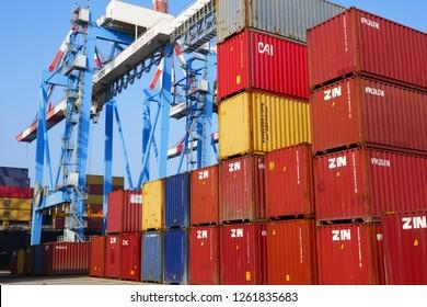 Haifa, Israel 17.12.2018 - Shipping yard