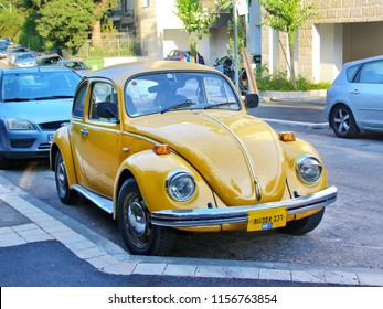 HAIFA, ISRAEL - AUGUST 11, 2018: Vintage car Volkswagen Beetle (Volkswagen Bug) on the street.