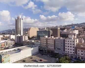 Haifa, Israel - August 13, 2018: Hight vintage point of view on the port of Haifa from a bird's eye view.