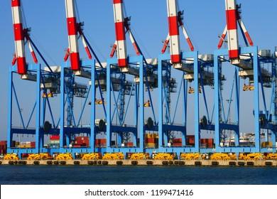 Haifa, Israel - August 28 2018 : Container Crane / Gantry