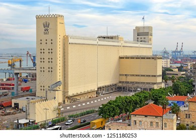 HAIFA, ISRAEL - December 02, 2018: top view of the port of Haifa and Dagon Grain ( grain elevator ) in the foreground