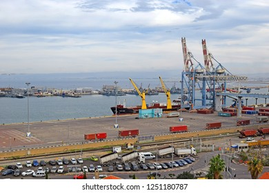 HAIFA, ISRAEL - December 02, 2018: top view of the commercial port of Haifa and Haifa Bay