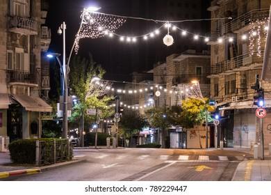 Haifa, Israel, December 08, 2017 : Decoratively decorated for Christmas celebrations Herzl street in Haifa in Israel