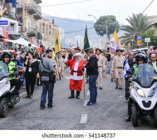 Haifa, Israel - December 17, 2016 : Pupils of St. Elias Episcopal school participate in the Christmas parade in the German Colony in Haifa, Israel