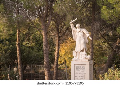 Haifa, Israel - December 20 2017: The statue of Elijah on Mount Carmel, where the prophet