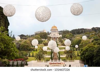 Haifa, Israel - December 27, 2018: Christmas decoration and Winter view at dusk of Bahai garden and the temple in Haifa, Israel.