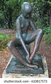 HAIFA, ISRAEL - DECEMBER 5,2013: Sculpture Garden on Zionism blvd in Haifa. The Peace Park has 29 sculptures, donated by Swiss sculptor Ursula Malbin in 1978.