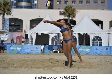 Haifa, Israel - July 11, 2017: International preliminaries volleyball matches during Maccabiah Games on July 11, 2017 at the Leonardo Hotel Beach in Haifa, Israel