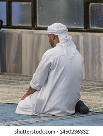 Haifa, Israel, July 11, 2019 : Muslim believer prays in prayer room of the Ahmadiyya Shaykh Mahmud mosque in Haifa city in Israel