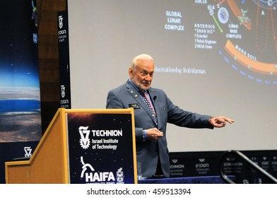 HAIFA, ISRAEL JULY 26: Astronaut Dr. Edward (Buzz) Aldrin giving a talk during the Space Studies Program 2016 (SSP16) hosted by the Technion, Haifa, Israel, July 26, 2016
