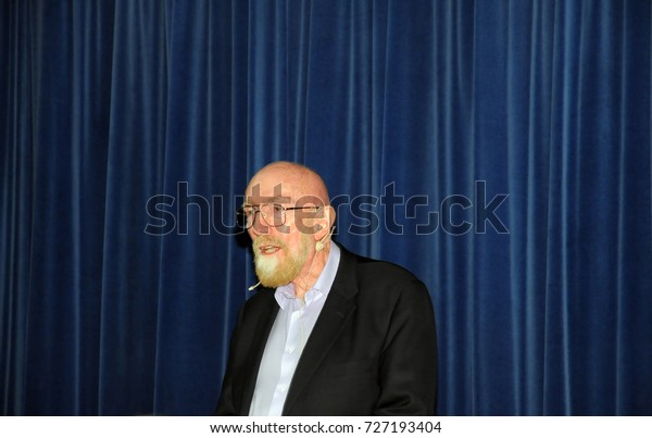HAIFA, ISRAEL, JUN 13, The famous 2017 nobel laureates, Kip Thorne, known for his contributions in the gravitational waves, giving a talk at the Technion, Haifa, Israel, June 13, 2017