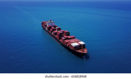 Haifa, Israel. June 06 2017: Large Container ship on the open sea isolated - aerial