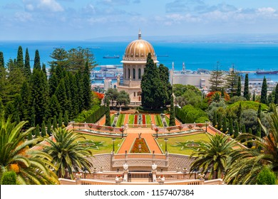 Haifa, Israel - June 18, 2018: Haifa cityscape and Bahai Gardens (Shrine of the Bab), a holy pilgrimage for the Bahai believers built on Mount Carmel in Haifa, Israel.