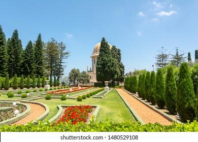 Haifa, Israel / June 21, 2019: Bahai Gardens. The Terraces of the Bahai Faith, also known as the Hanging Gardens of Haifa, are garden terraces around the Shrine of the Bab on Mount Carmel.