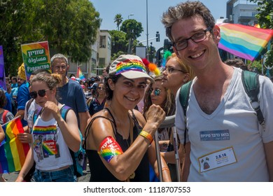 HAIFA, ISRAEL - JUNE 22, 2018: Various people take part and carry signs, in the annual pride parade of the LGBT community, in Haifa, Israel