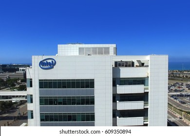 Haifa, Israel - March 26, 2017: Intel logo on a building, Intel is one of the world's largest and highest valued semiconductor chip makers, based on revenue.