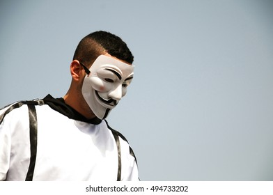 HAIFA, ISRAEL - MAY 1: Photo of a protester wearing Vendetta mask. This mask is a well-known symbol for the online hacktivist group Anonymous. Isolated, Haifa, Israel, May 1, 2016
