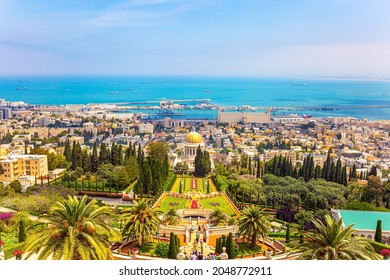 HAIFA, ISRAEL - MAY 6, 2017: View from Mount Carmel to the seaport of Haifa. Pilgrimage center and popular tourist destination. Bahai Center. Sunny day by Mediterranean Sea.
