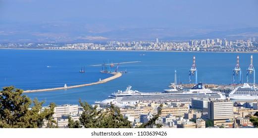 HAIFA ISRAEL NOV. 04 2016: Port of Haifa is the largest of Israel three major international seaports. It has a natural deep water harbor and serves both passenger and merchant ships