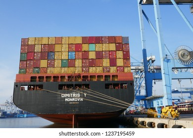 Haifa, Israel - November 20 2018 : Containers stacked height on ship