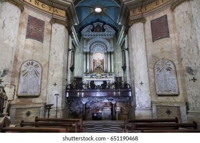 HAIFA, ISRAEL - NOVEMBER 22, 2014: Interior of Stella Maris (Carmelite) Church. Mt Carmel. Haifa. Israel.