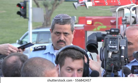 HAIFA, ISRAEL, NOVEMBER 24th, 2016: Roni Alsheikh (or Roni Alsheich), Chief of Israeli Police speaks to the press during fires in Haifa, Israel