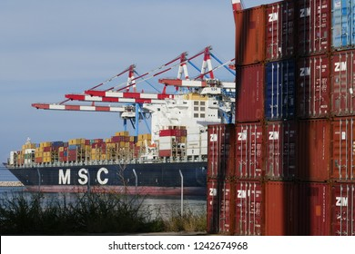 Haifa, Israel - November 26 2018 : Cargo container ship