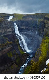Haifoss waterfall on Iceland, overcast day