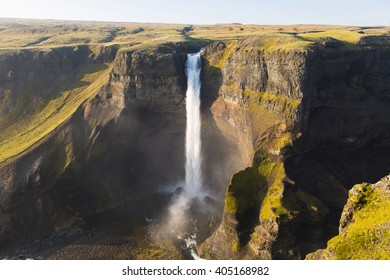 The Haifoss waterfall in the Pjorsardal, Iceland