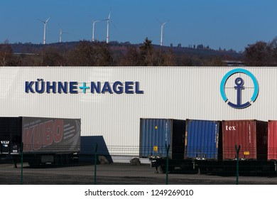 haiger, hesse/germany - 17 11 18: kühne und nagel sign in haiger germany
