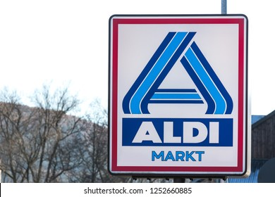 haiger, hesse/germany - 17 11 18: aldi sign in haiger germany