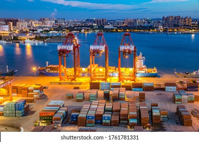 Haikou, Hainan, China - June 17th 2020: Haikou Port Container Terminal Night View, The Main Transportation Hub for Hainan Pilot Free Trade Zone and Free Trade Port of China.