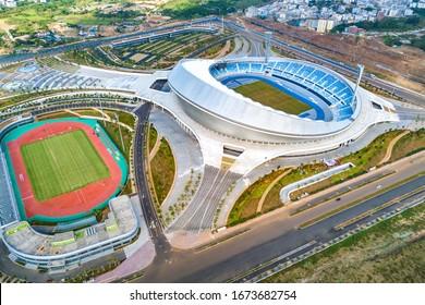 Haikou, Hainan, China - Nov 11th 2018: Wuyuanhe Stadium, a Stadium in Haikou's West Coast Area, Hainan, China. It is Hainan's Largest Stadium. Aerial View.