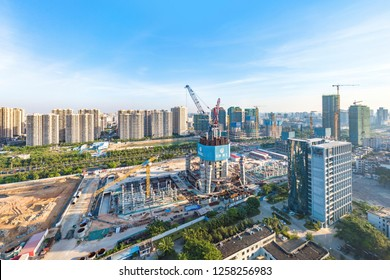 Haikou, Hainan, China - October 31, 2018: Construction of the Haikou Tower South in the New Business District of the South Chinese Metropolis Haikou to be the tallest building on the island