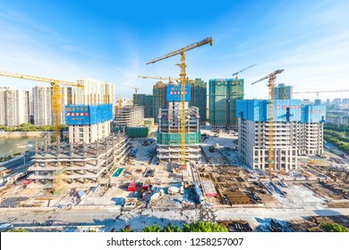 Haikou, Hainan, China - October 31, 2018: HNA's Haihang Shoufu Project sold to Guangzhou R&F Properties is under Construction on the Site of Hainan's New CBD after the Initiative of Free Trade Zone
