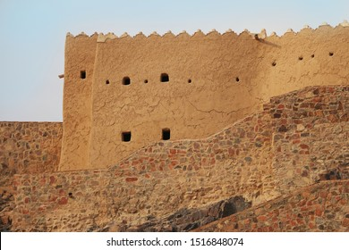 Hail City / Saudi Arabia - September 23, 2018: A'arif Fort historic fortress perched on the top of a mountain in downtown Hail in northern KSA.