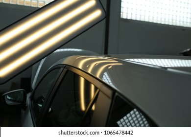 Hail damage, lights for detecting dents in a car body