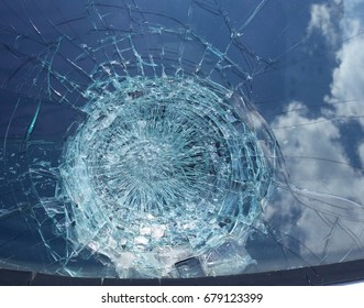 Hail damage windshield sky damage blue