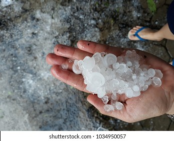 Hail falls on the floor background, Hail storm